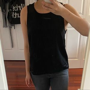 Black Business Casual Top with Beading and Cutout